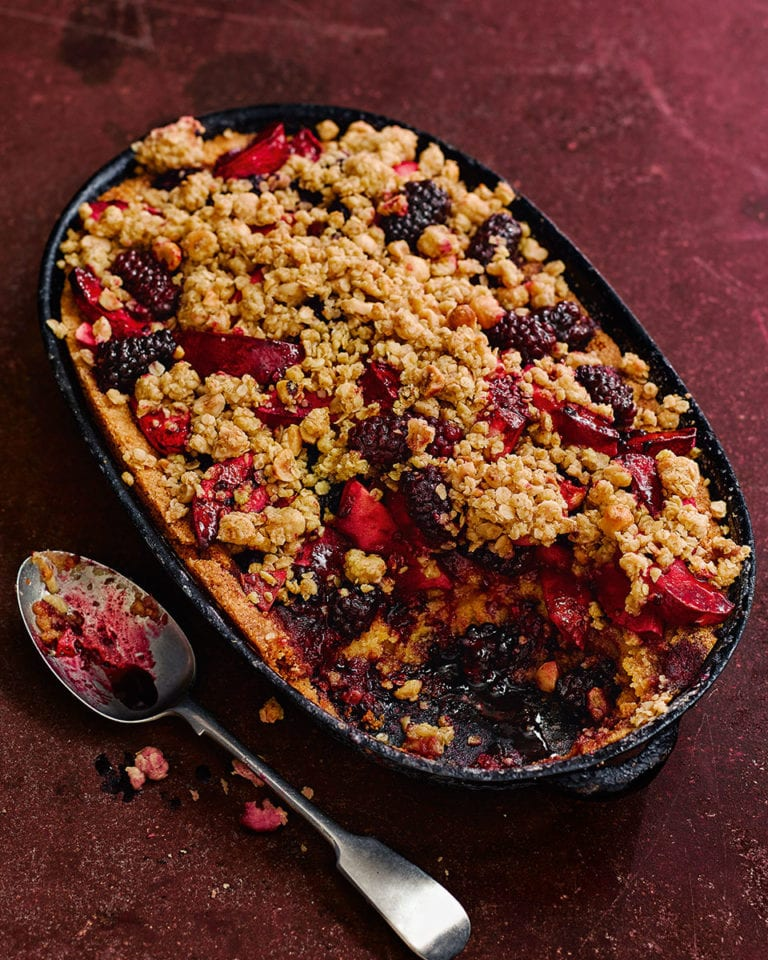 Apple and blackberry frangipane crumble