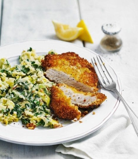 Quick colcannon with pork schnitzel