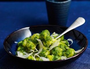 Sprouting broccoli and pea pesto gnocchi
