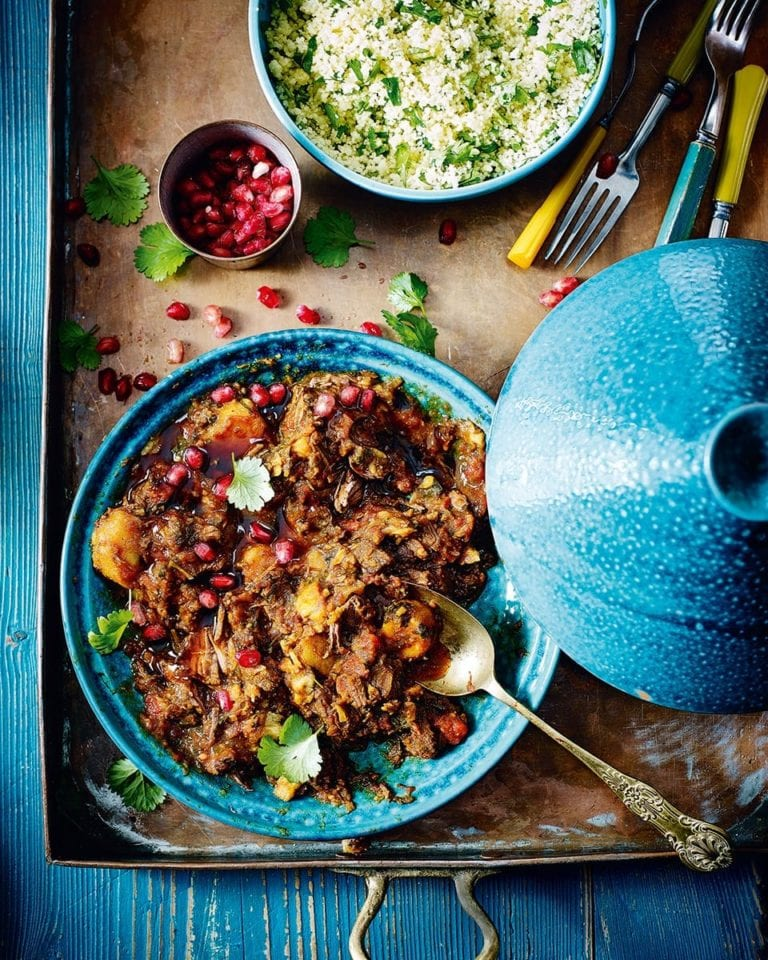 Venison and parsnip tagine with buttered herb couscous