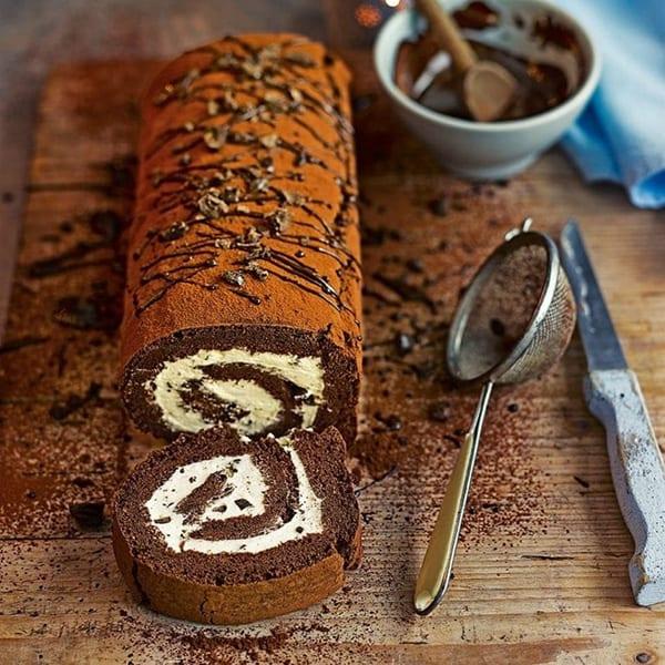 chocolate coffee swiss roll