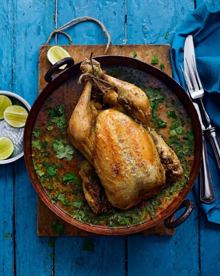 Pot-roast chicken in Thai curry sauce with citrussy jasmine rice