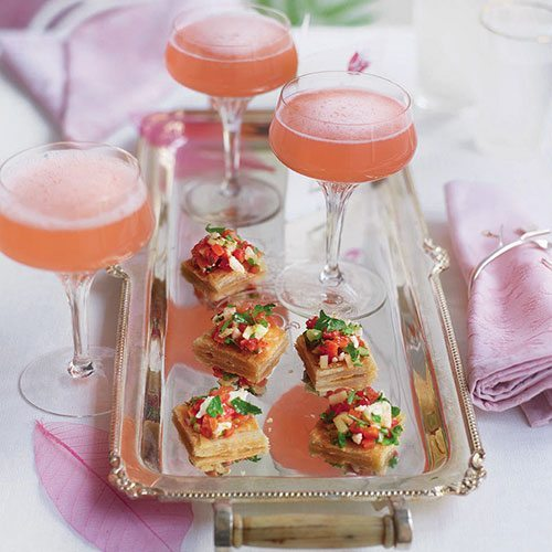 Champagne rhubarb cocktail