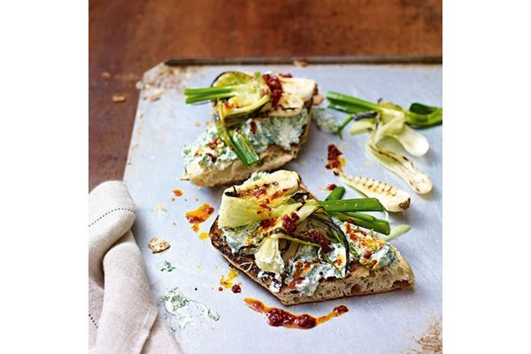 Spring onion, herby ricotta and 'nduja toasts