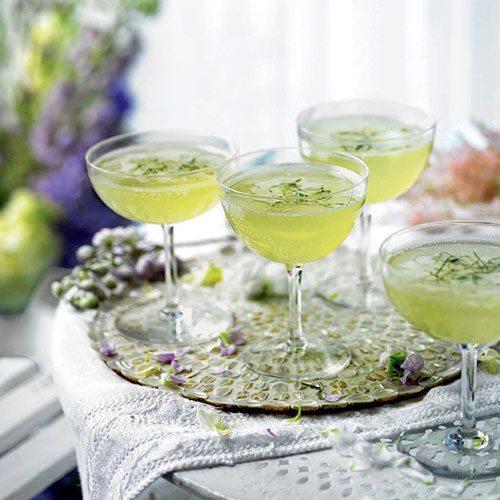 Cucumber, mint and elderflower champagne cocktailil