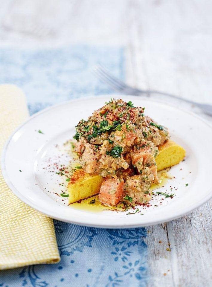 Root vegetable, aubergine and walnut ragoût