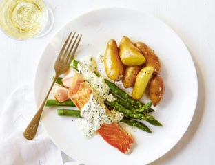 Easy mustard and dill salmon with new potatoes and asparagus