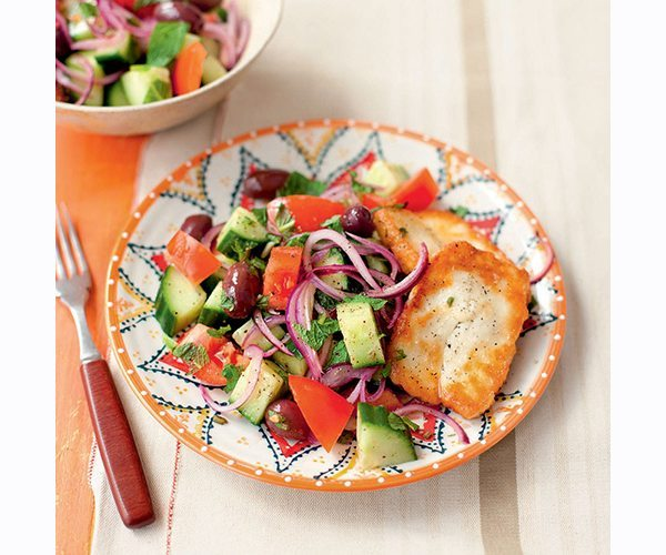 greek-salad-with-mint-and-fried-halloumi