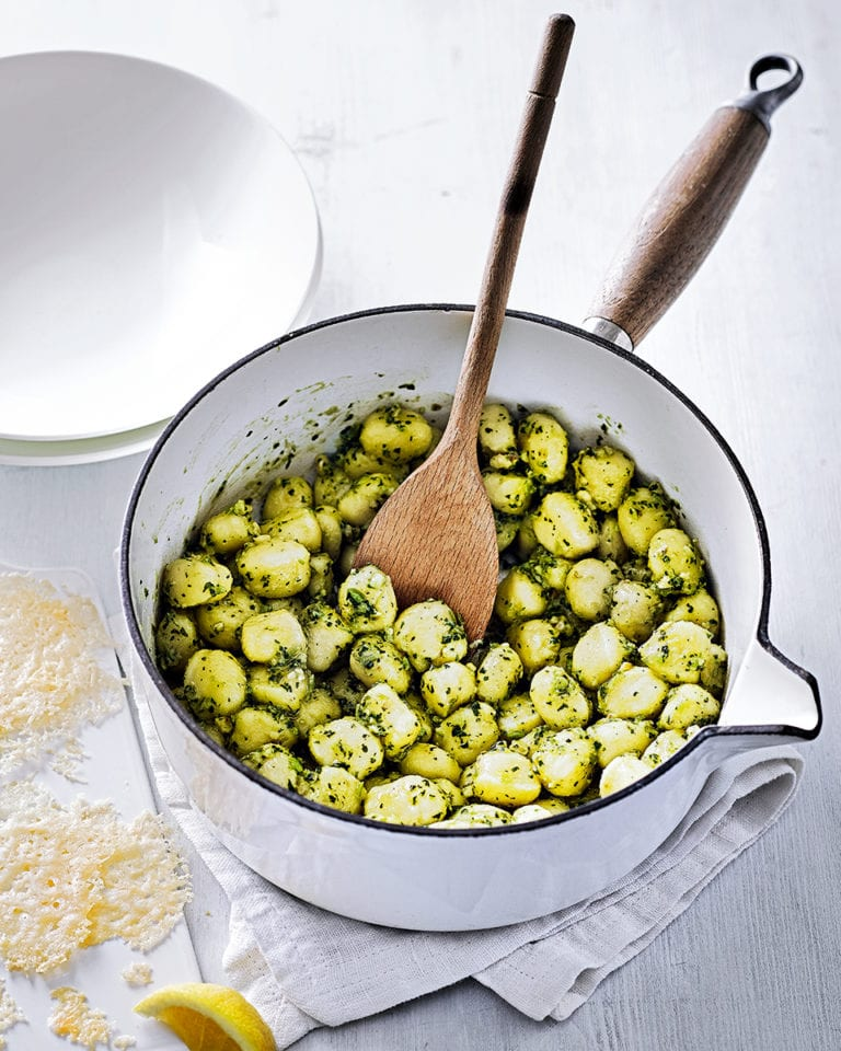 Gnocchi with watercress and walnut pesto
