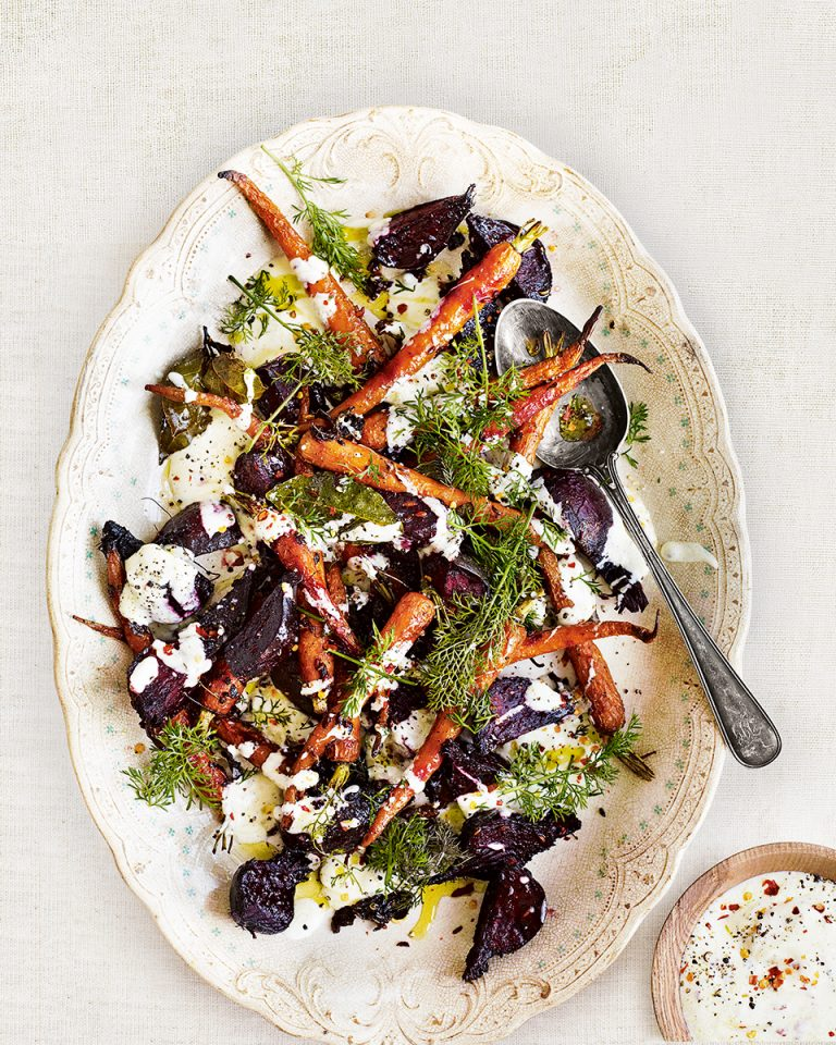 Roast carrot, beetroot and marjoram salad with fennel seed and yogurt dressing - delicious. magazine