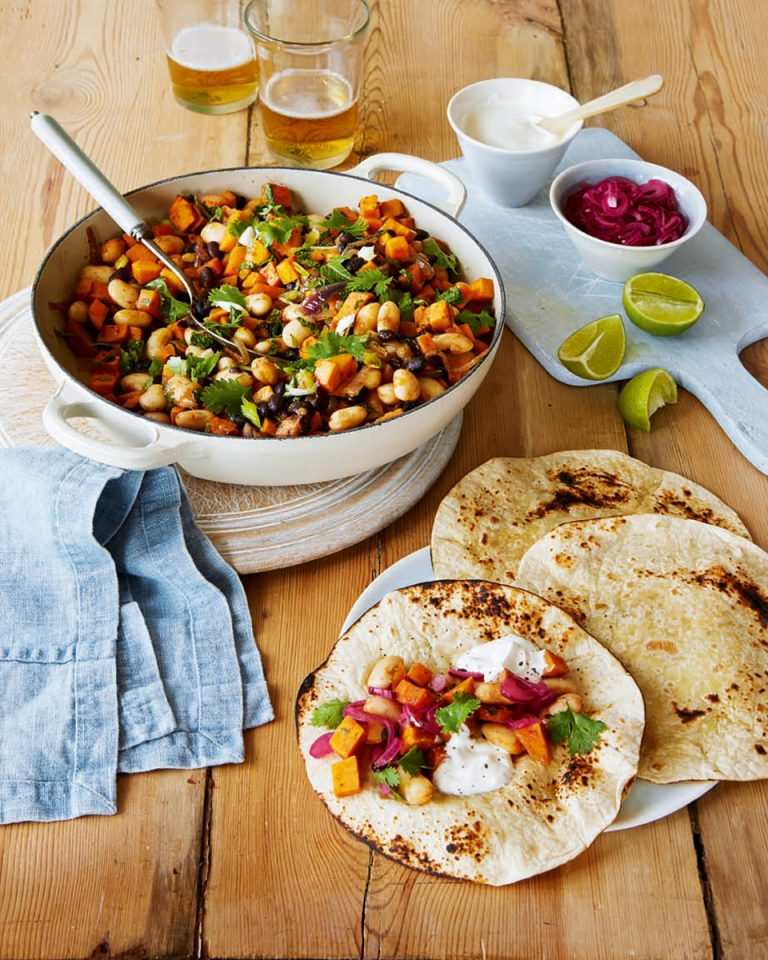 Smoky bean and sweet potato tortillas with lime-pickled onions - delicious. magazine