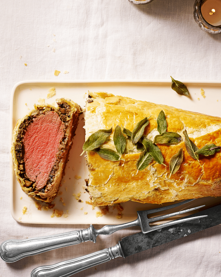 How to make mushroom and chestnut beef wellington - delicious. magazine