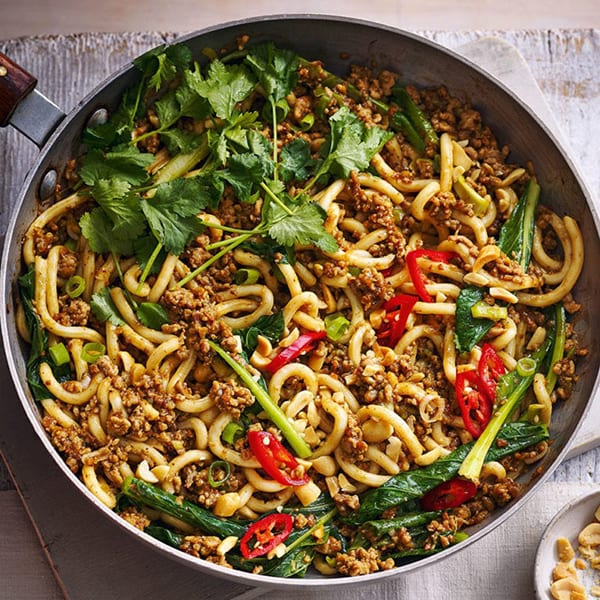 Black bean pork noodles with coriander and peanuts