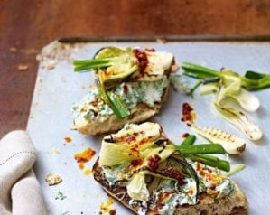 Spring onion, herby ricotta and 'nduja toasts – video