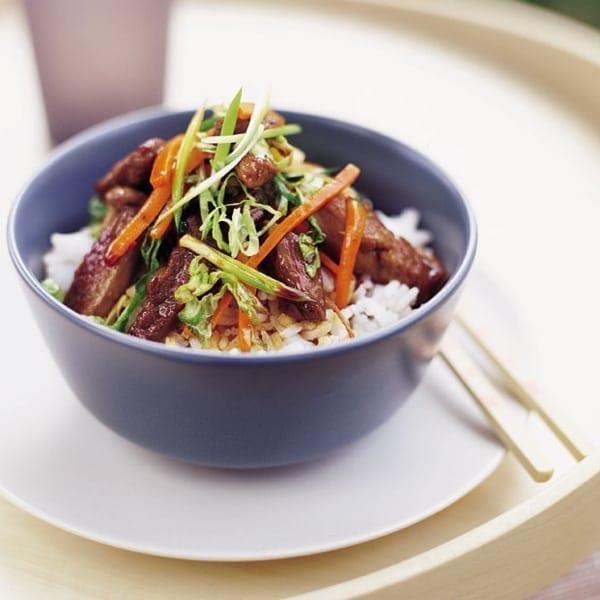 Honeyed duck and vegetable stir-fry