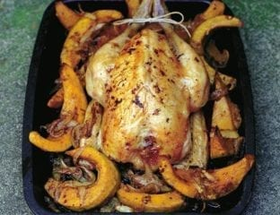 Ginger-roasted chicken with Bengali-spiced squash