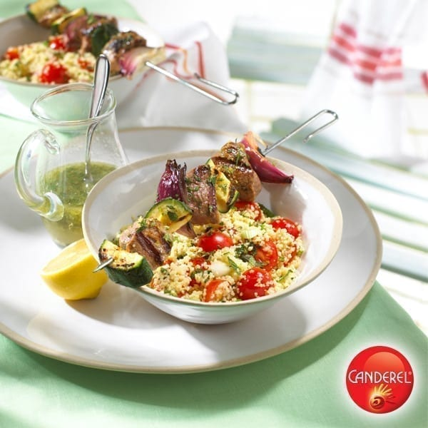 Lemon and mint lamb kebabs with couscous salad