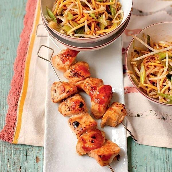 Five-spice chicken skewers with speedy chow mein