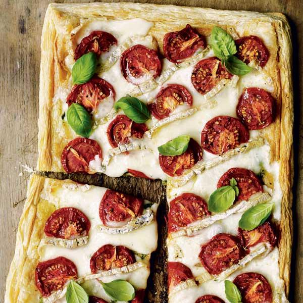 Oven-dried tomato and taleggio tart with pesto