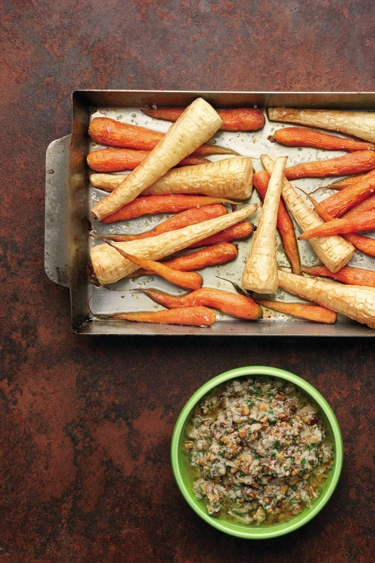 Roast carrots and parsnips with walnut sauce