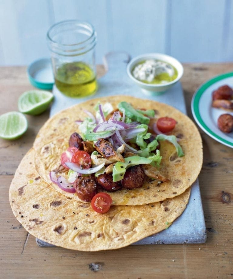 Chicken and chorizo wraps
