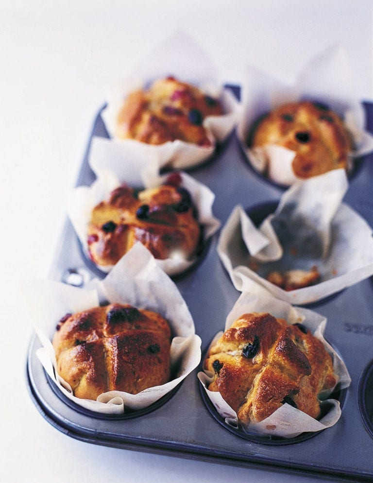 Sticky hot cross buns