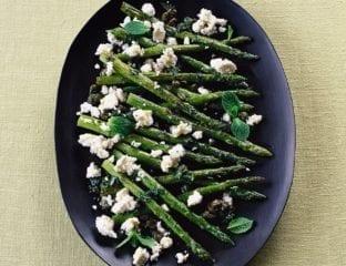 Roast asparagus with feta
