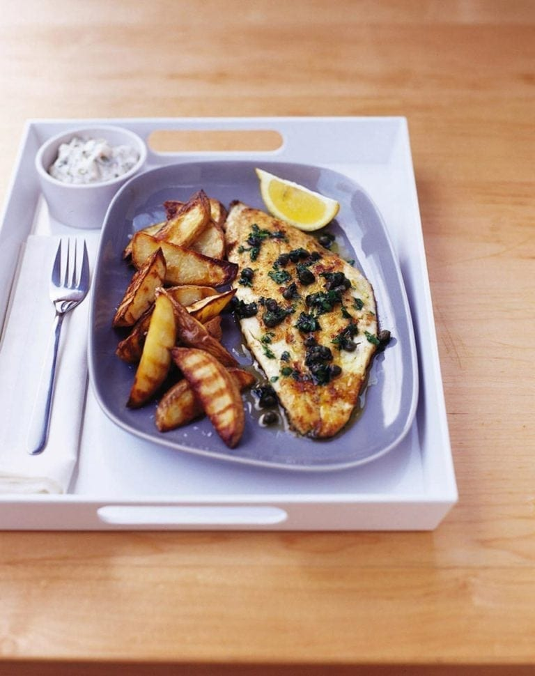 Pan-fried plaice with potato wedges