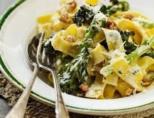 Pappardelle with purple sprouting broccoli, Dolcelatte and walnuts
