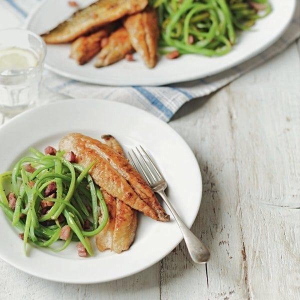 Pan-fried mackerel with runner bean salad