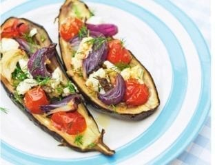 Stuffed aubergine with dill and feta