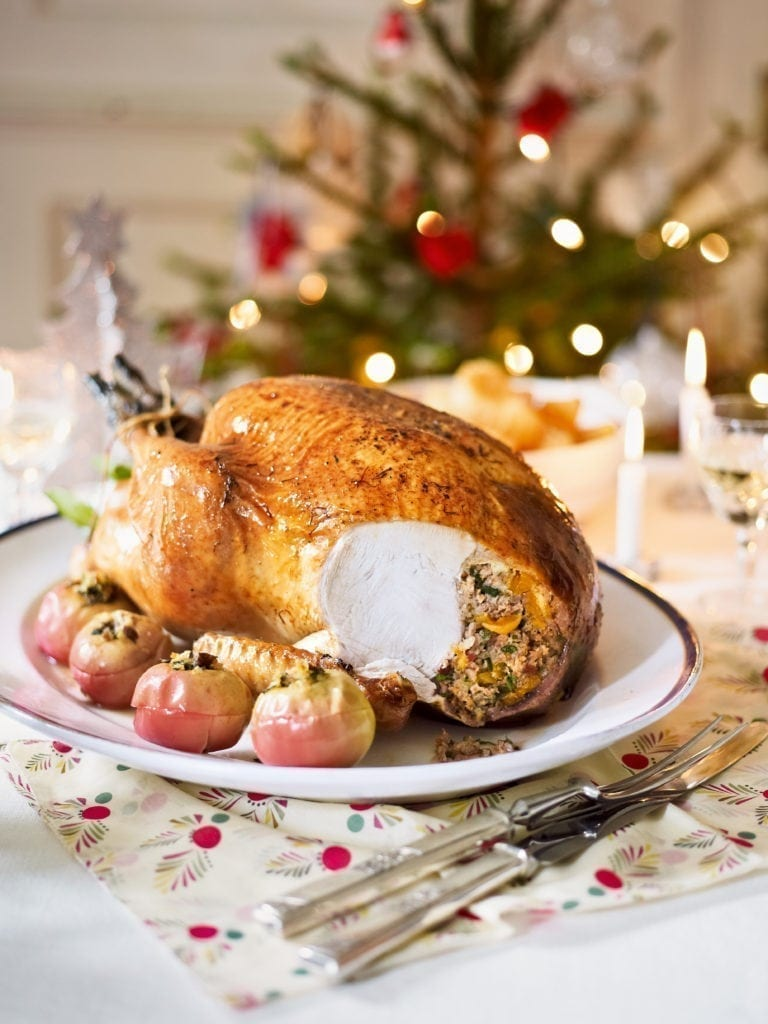 Turkey with sausage, pancetta and apricot stuffing