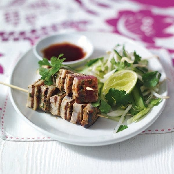 Sweet soy and chilli tuna skewers with Asian slaw