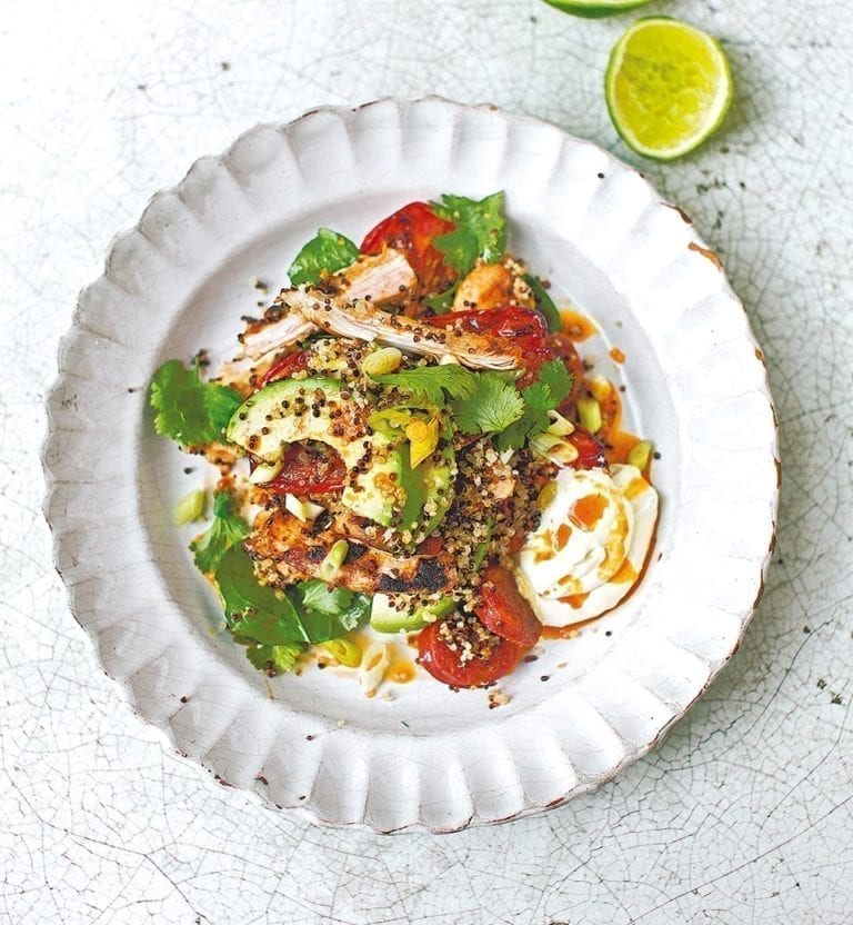 Chipotle-griddled chicken salad with chorizo and quinoa
