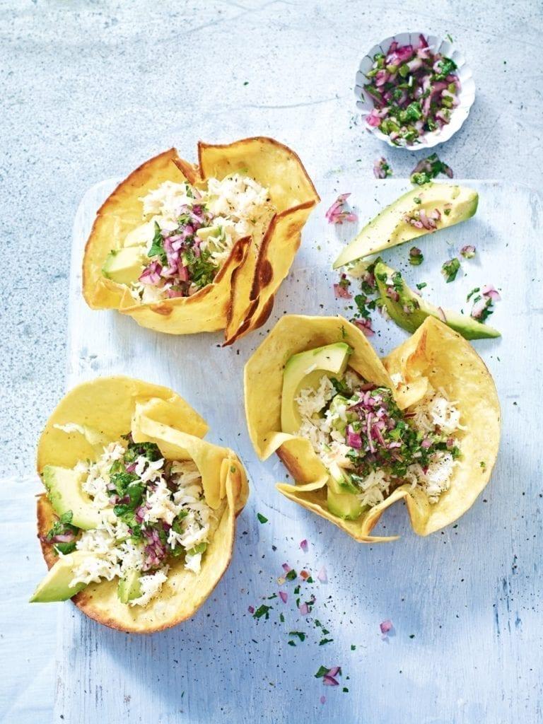 Crab and avocado tostadas with jalapeño salsa verde