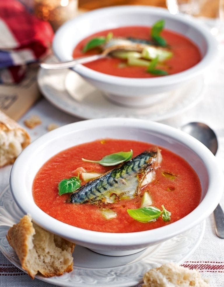 Chilled tomato soup with grilled mackerel