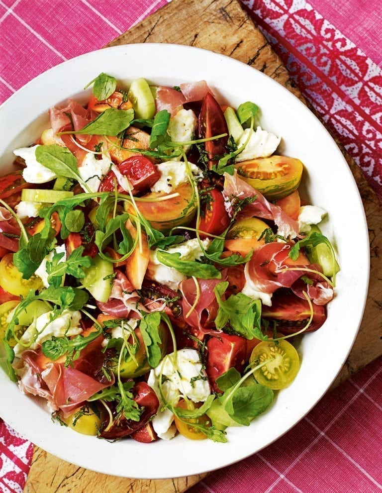 Heritage tomato salad with air dried ham, melon and mozzarella