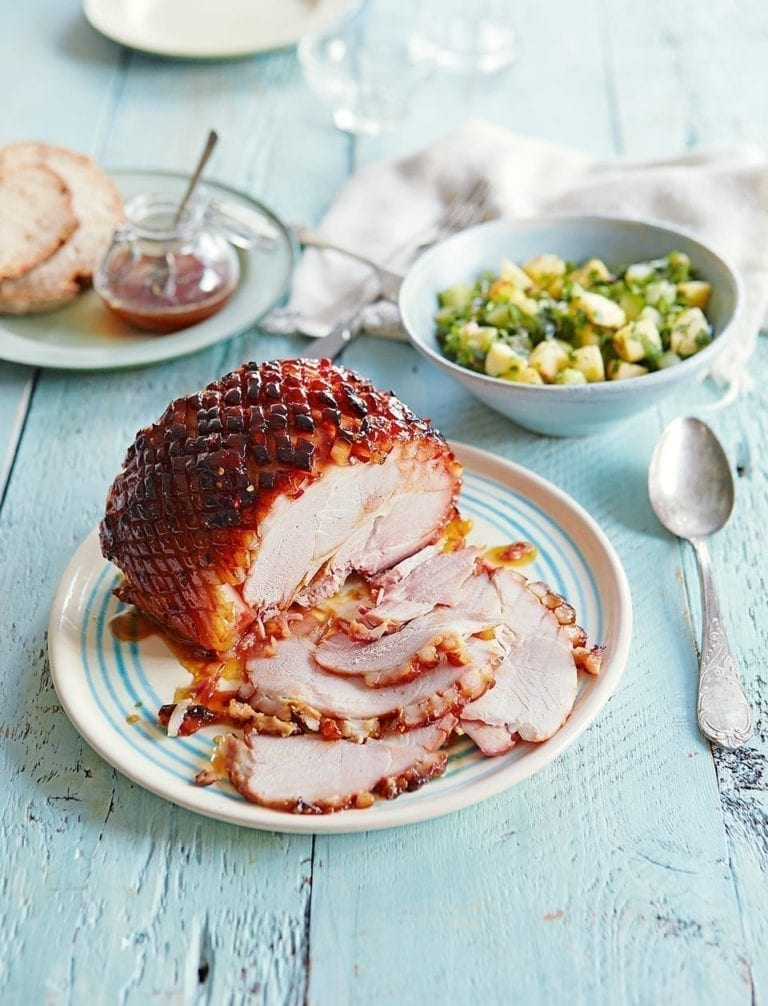 Baked picnic ham with pineapple and chilli glaze