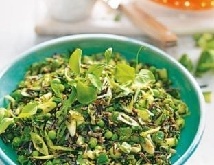 Wild rice salad with peas, pea shoots and green harissa