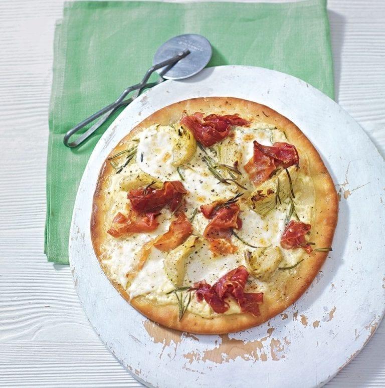 Artichoke and parma ham pizza