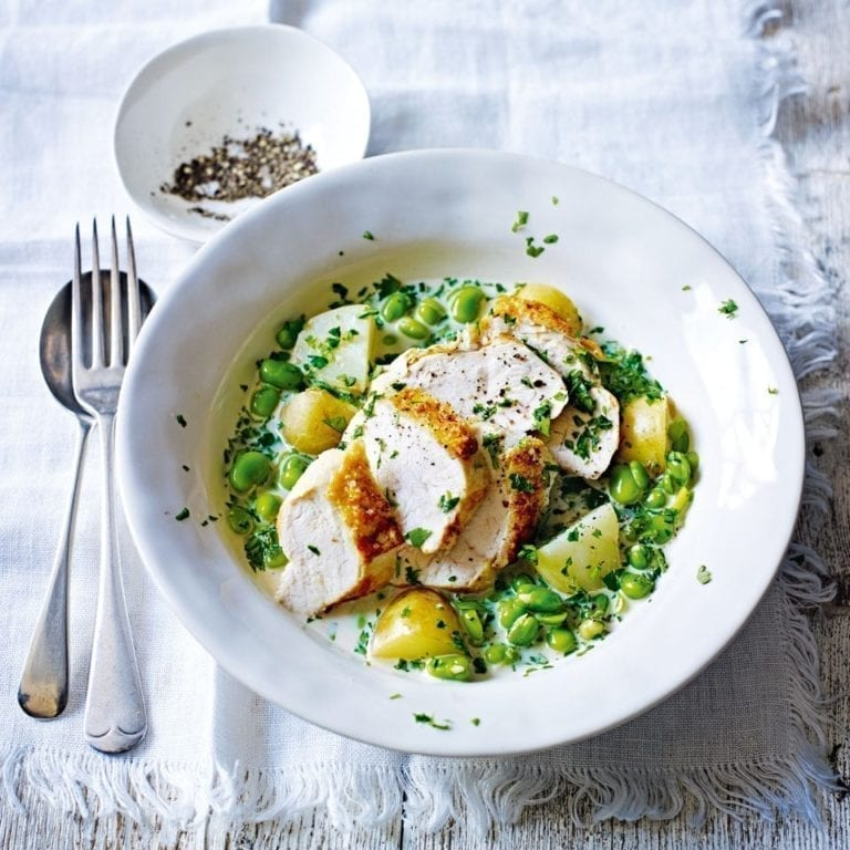 Roast chicken breasts with broad beans and herbs
