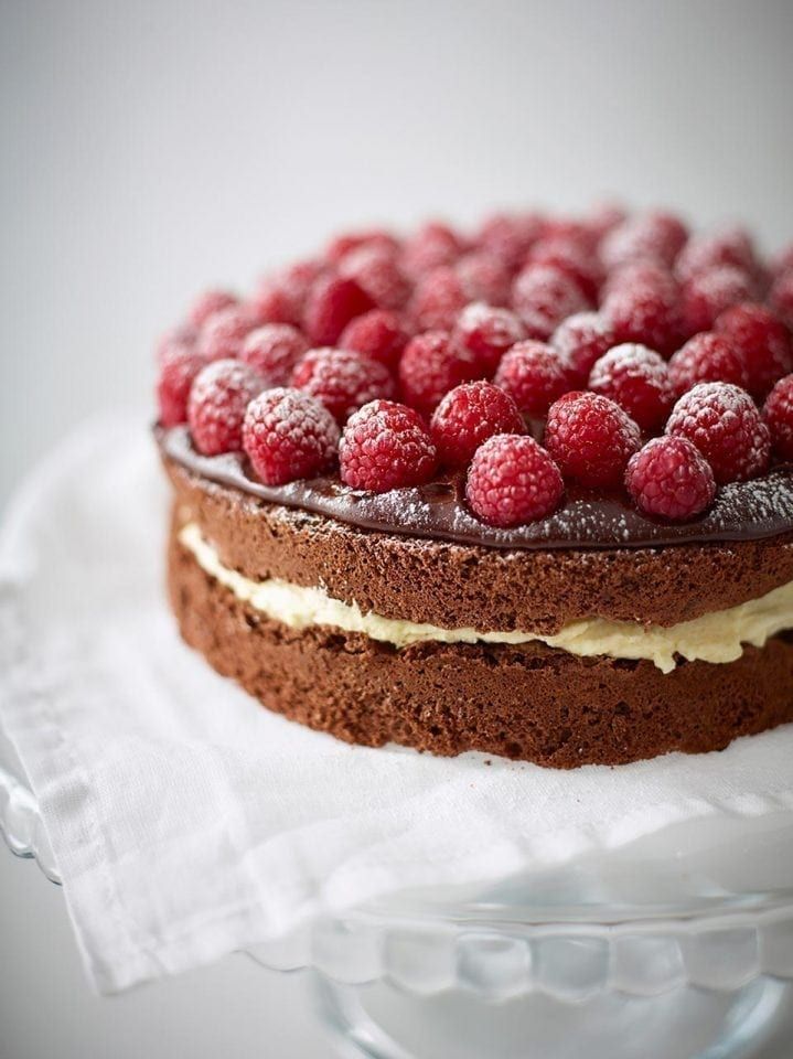 Gluten-free chocolate cake with raspberries
