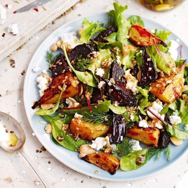 Roasted beetroot and marinated feta salad with dill and toasted almonds