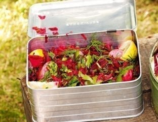 Grated beetroot and herb salad