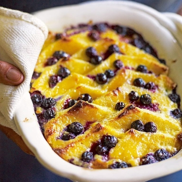 Souffléd blueberry, lemon curd and brioche bread-and-butter pudding
