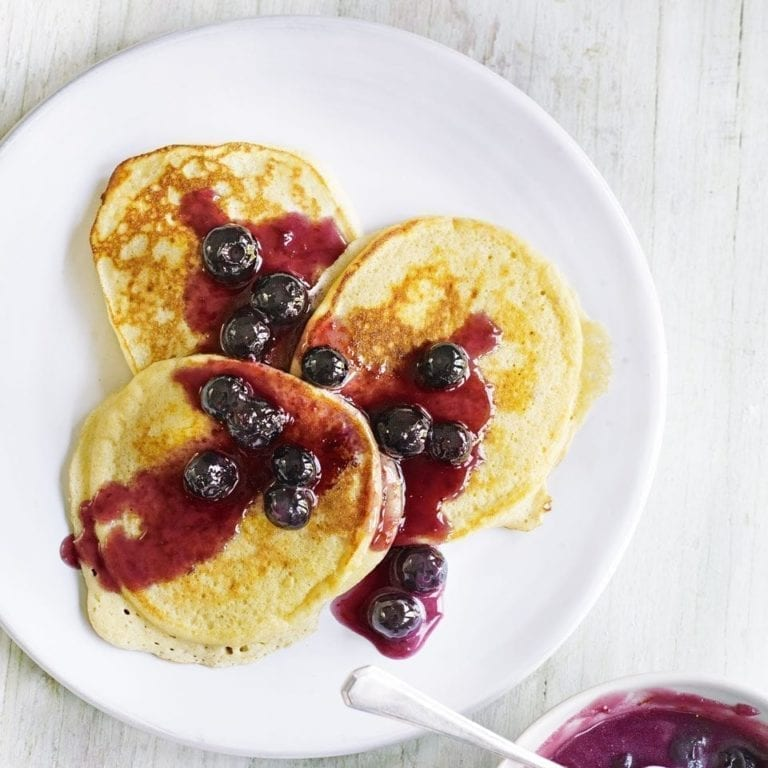 Ricotta and buttermilk pancakes with blueberry and orange butter