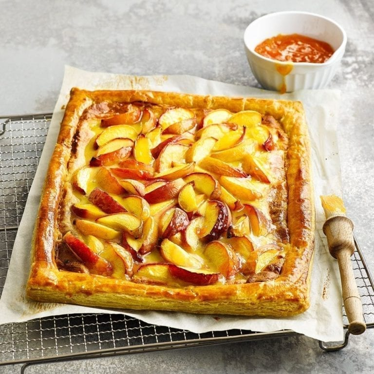 Peach and marzipan tart