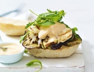 Griddled vegetable and halloumi burger with chilli yoghurt
