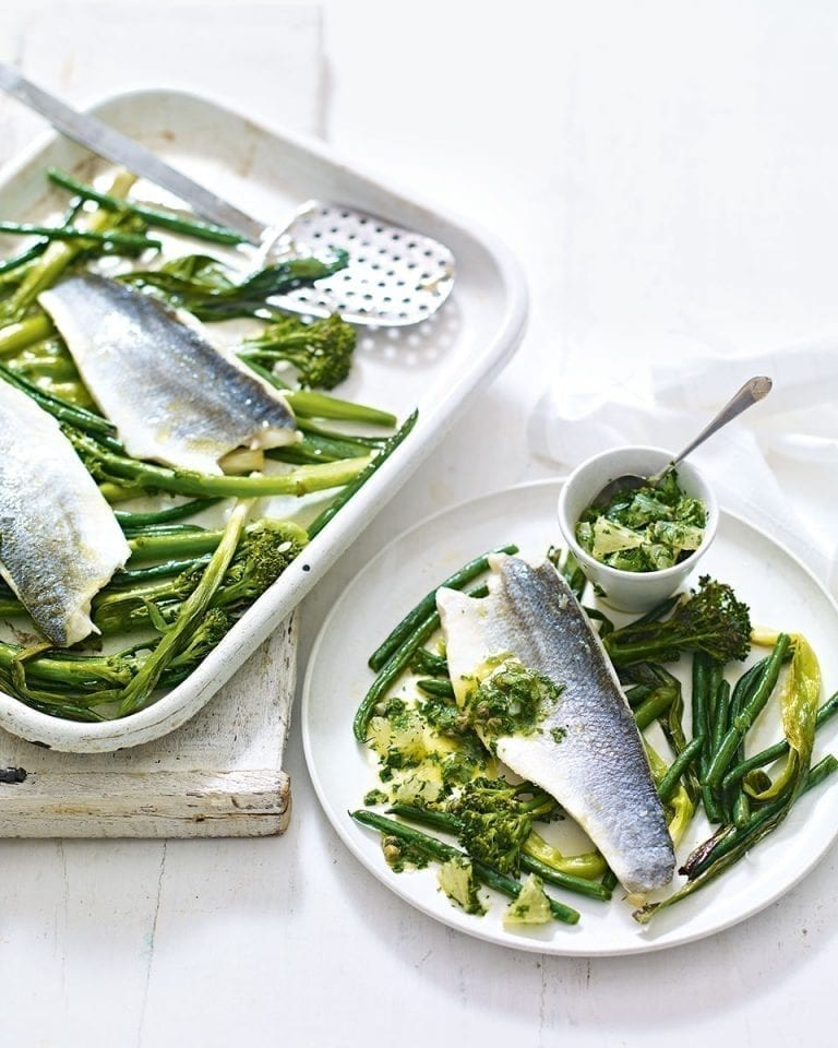 Grilled fish and greens with caper & lemon salsa