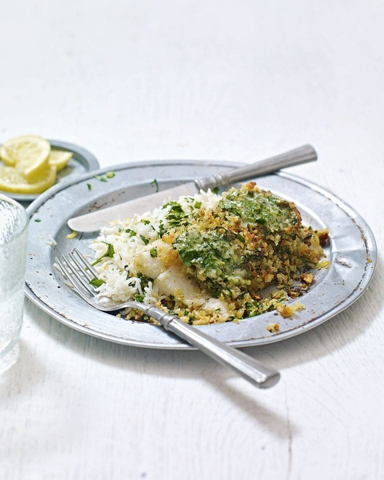 Herb-crusted fish with parmesan butter and lemon rice
